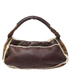 Fendi Brown Leather and Suede Shearling Hobo