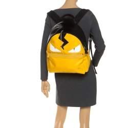 Fendi Yellow/Black Nylon/Leather and Fur Monster Backpack