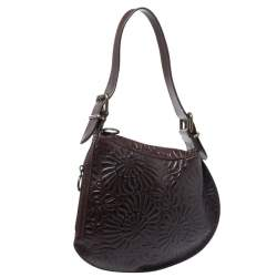 Fendi Dark Brown Embossed Leather Oyster Hobo