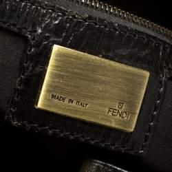 "حقيبة فندي ""شيف دو جور"" جلد لامع بني داكن"