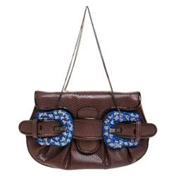 Fendi Brown Watersnake and Beads B Bis Chain Clutch