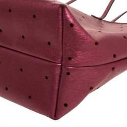 Fendi Metallic Purple Perforated Leather Roll Tote