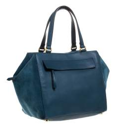 Fendi Blue Suede And Leather Boston Bag