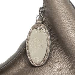 Fendi Metallic Grey Leather Selleria Hobo