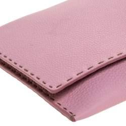 Fendi Pink Leather Selleria Flap Clutch