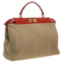 Fendi Beige/Red Zucca Corda Pumpkin Rope and Leather Large Peekaboo Top Handle Bag