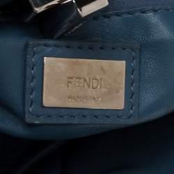 Fendi Blue/Yellow Leather Mini Wave Peekaboo Top Handle Bag