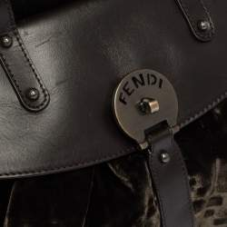 Fendi Mossy Green/Brown Zucca Velvet and Leather Magic Top Handle Bag