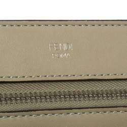 Fendi Khaki Green Leather Dotcom Top Handle Bag