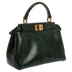Fendi Green Python Mini Peekaboo Top Handle Bag