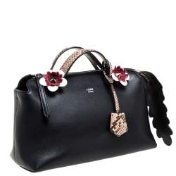 Fendi Black Leather and Python Small By The Way Satchel