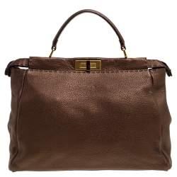 Fendi Bronze Selleria Leather Large Peekaboo Top Handle Bag