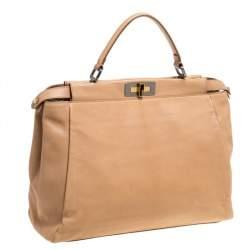 Fendi Beige Leather and Lizard Lining Large Peekaboo Top Handle Bag