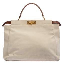 Fendi Cream/Tan Canvas and Leather Large Peekaboo Top Handle Bag