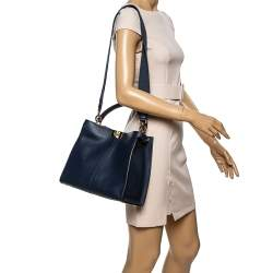 Fendi Blue Leather Peekaboo X-Lite Top Handle Bag