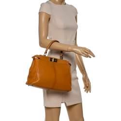 Fendi Tan Leather Medium Peekaboo Top Handle Bag