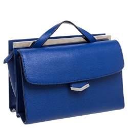 Fendi Blue Textured Leather Mini Demi Jour Top Handle Bag