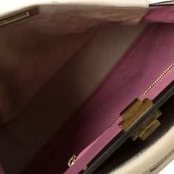 Fendi Cream Leather Large Peekaboo Top Handle Bag