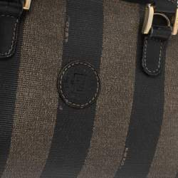 Fendi Tobacco Pequin Striped Coated Canvas and Leather Boston Bag