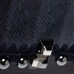 Fendi Navy Blue/Black Python and Leather Small Kan I Beaded Top Handle Bag