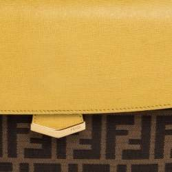 Fendi Brown/Yellow Zucca Canvas and Leather Small Demi Jour Top Handle Bag