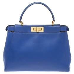 Fendi Blue Leather Medium Peekaboo Top Handle Bag