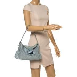 Fendi Light Blue Denim FF Crystal Embellished Mamma Baguette Bag