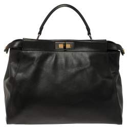 Fendi Black Leather Large Peekaboo Top Handle Bag