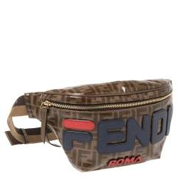 Fendi Brown Zucca Coated Canvas and Leather Spalmati Mania Belt Bag