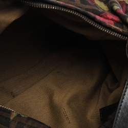 Fendi Brown Zucca Floral Print Canvas and Leather Chef Shoulder Bag