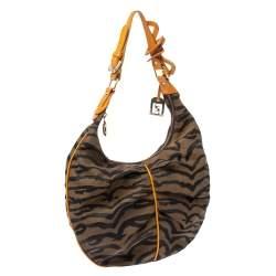 Fendi Tobacco/Tan Striped Tiger Canvas and Leather Hobo
