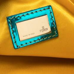 Fendi Metallic Bronze/Blue Coated Canvas and Patent Leather Pochette
