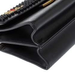 Fendi Black Textured Leather Mini Studded Monster Demi Jour Top Handle Bag