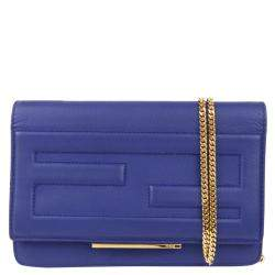 Fendi Blue Leather Tube Wallet on Chain Bag