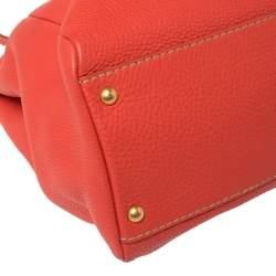 Fendi Coral Orange Selleria Leather Large Peekaboo Top Handle Bag