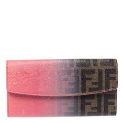 Fendi Pink Ombre Zucca Coated Canvas Continental Wallet