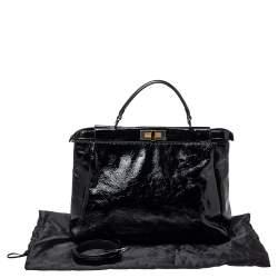 Fendi Black Patent Leather Large Peekaboo Top Handle Bag