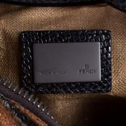 Fendi Brown Fabric and Lizard Wood Embellished Oyster Hobo