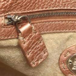 Fendi Metallic Rose Gold Leather Selleria Linda Bag
