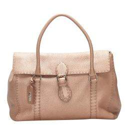 Fendi Metallic Rose Gold Leather Selleria Linda Bag