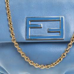 Fendi Blue Leather Fendista Chain Shoulder Bag