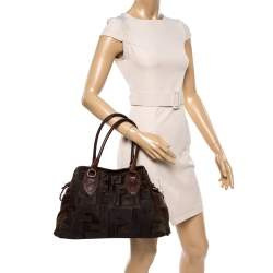 Fendi Brown Calf Hair and Textured Leather Medium De Jour Bag