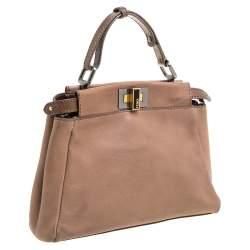 Fendi Beige Leather Mini Peekaboo Top Handle Bag