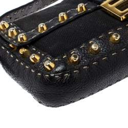 Fendi Black Canvas and Selleria Leather Mama Baguette Studded Bag