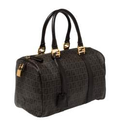 Fendi Brown Zucchino Coated Canvas and Leather Forever Bauletto Boston Bag