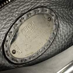Fendi Metallic Silver Selleria Leather Medium Peekaboo Top Handle Bag