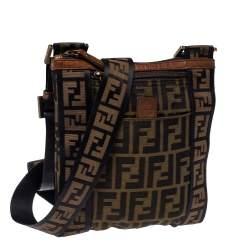 Fendi Tobacco Zucca Canvas Flat Messenger Bag
