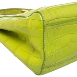 Fendi Apple Green Crocodile Mini Peekaboo Top Handle Bag