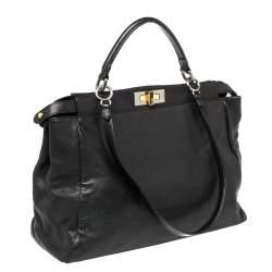 Fendi Black Leather Large Peekaboo Top Handle Bag