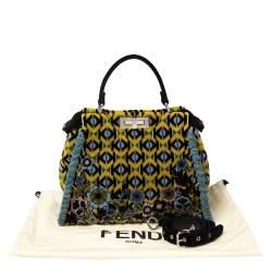 Fendi Multicolor Printed Velvet Medium Peekaboo Top Handle Bag
